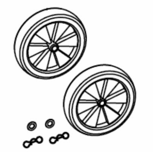 Chipper Wheels - solid rubber, plastic rim, retaining hardware to axle, 2013 Upgrade - Chippers: CH6, CH8