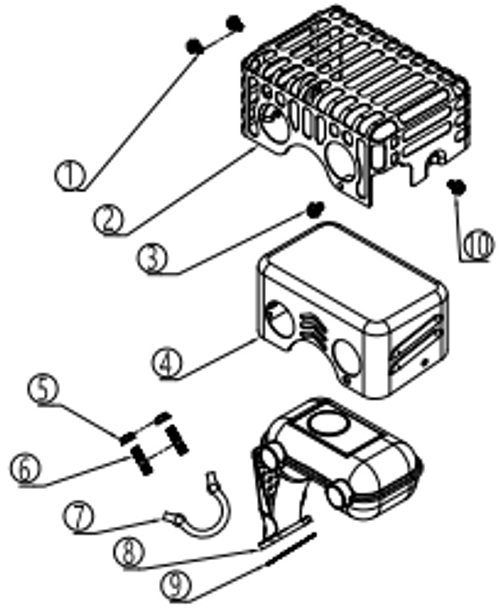 Muffler Assembly includes elbow and air check valve - Snow Blowers: 30SB, 36SB, 45SB (2019 and newer models)