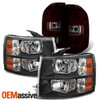For 07-13 Silverado 1500 2500HD 3500HD Black Headlights+ Dark Red Tail Lamp Pair