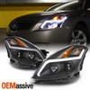 For 08 09 Nissan Altima Coupe LED Light Tube Projector Headlight Black Housing