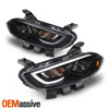 Fits 2013-2015 Dodge Dart Black Projector LED Light Tube Headlights Pair Housing