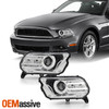 For 2010-2014 Ford Mustang LED Light Bar DRL Projector Headlights - Chrome