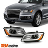 For 2013-2017 Audi Q5 OE Projector DRL Headlights Pair Chrome Housing [HID AFS]