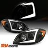 For 05-10 Chevy Cobalt 07-10 Pontiac G5 LED [C-Tube] Projector Black Headlights