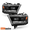 For 19-20 RAM 1500 Halogen Projector Black Headlights w/ LED Running+Sequential