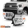 For 14-17 Toyota Tundra Limited SR SR5 LED Quad Projector Chrome Headlights Pair