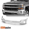 For 2016-2018 Chevy Silverado 1500 Chrome Steel Front Bumper Face Bar w/Fog Hole