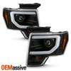 For 2009-2014 Ford F150 Halogen Projector [Built-In LED] Black Headlights C-Tube