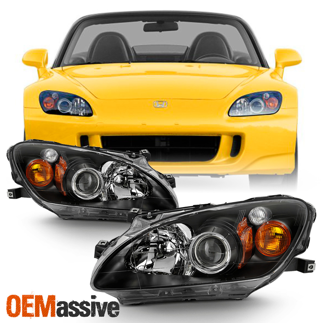 Fits 2000 2003 Honda S2000 Amber Projector Hid Xenon Headlights Replacement Pair Oemassive