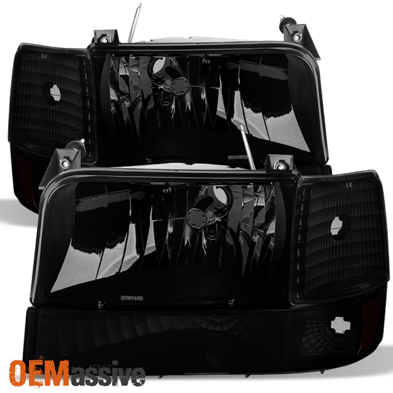 1992-1996 Ford Bronco F150 F250 F350 Black Bumper Headlights Smoke Tail Lights