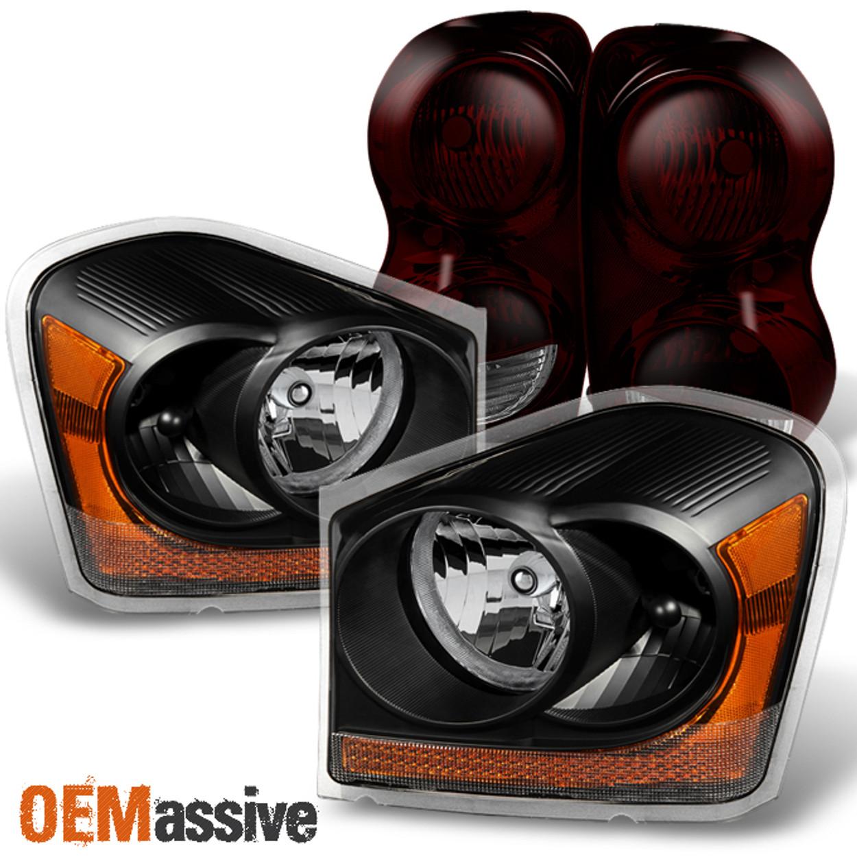 Fit 04 06 Dodge Durango Black Headlights Dark Red Tail Lights Replacement Oemassive