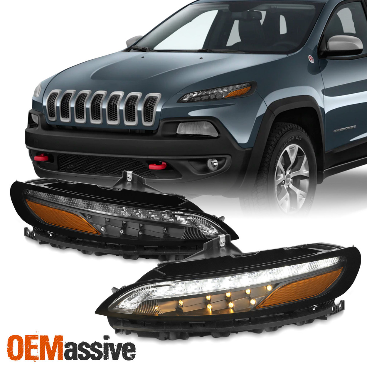 1 Pair Auto Car Rear Bumper Fog Light Reflector Lamp For Jeep Cherokee 2014-2018