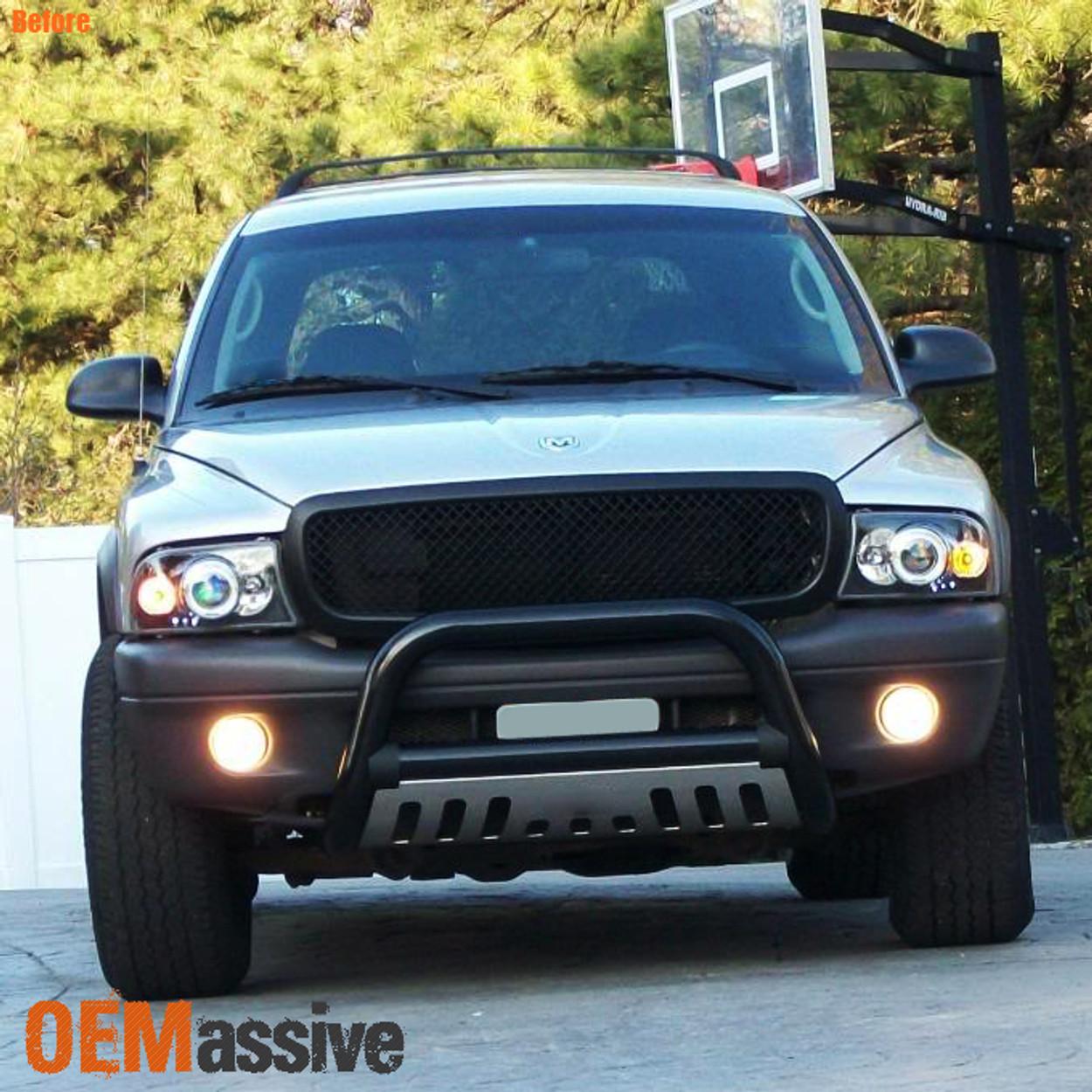 Fits 97 04 Dodge Dakota Durango Black Dual Halo Projector Led Headlights Lamp Oemassive