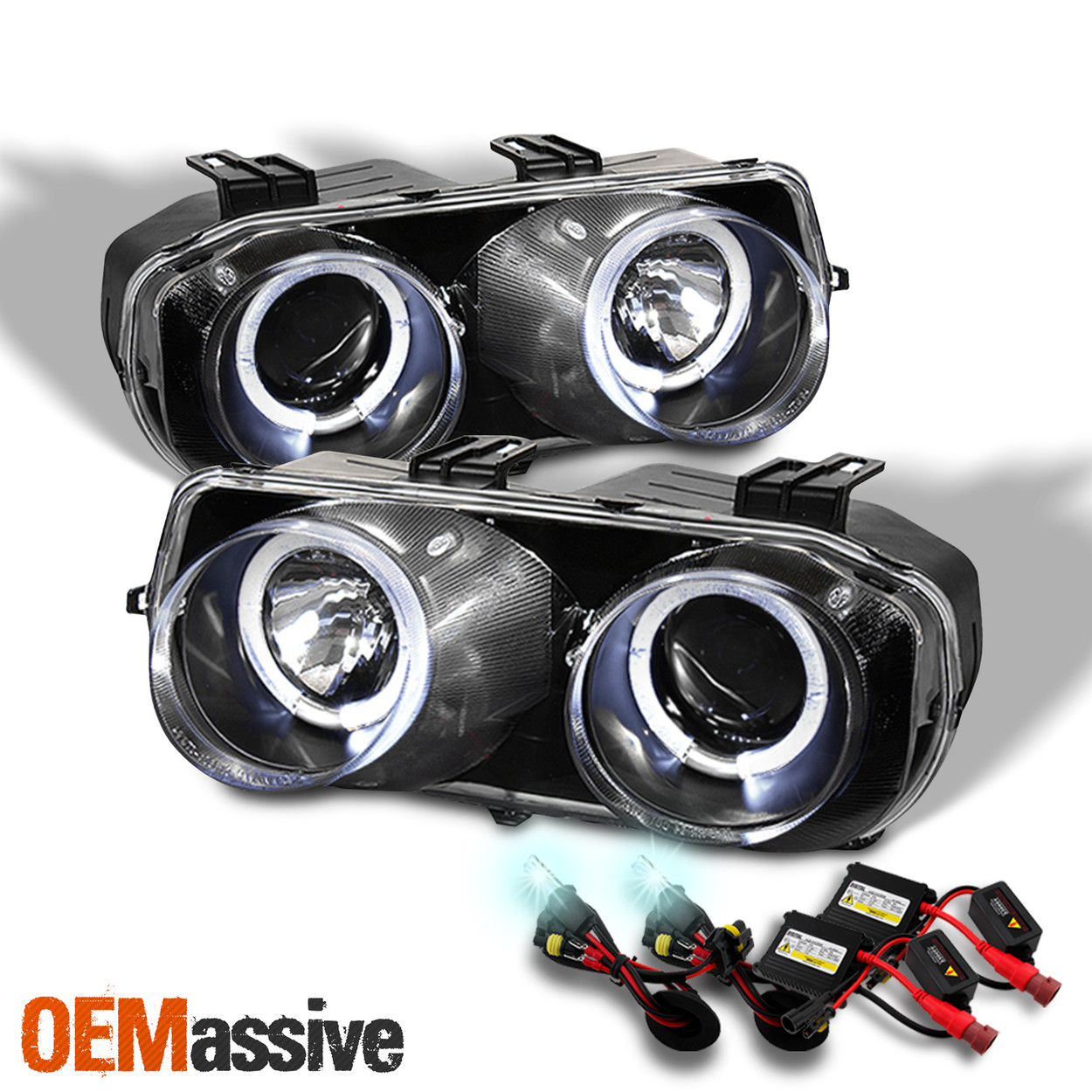 Fits 98 01 Acura Integra Led Dual Halo Drl Projector Headlights 8000k Hid Kit Oemassive