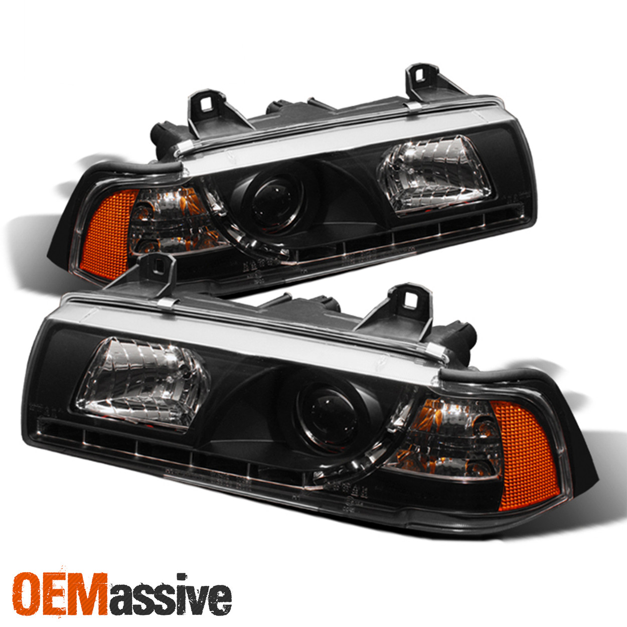 Fit Bmw 92 98 E36 3 Series Projector Headlights Drl Corner Lights Black Oemassive