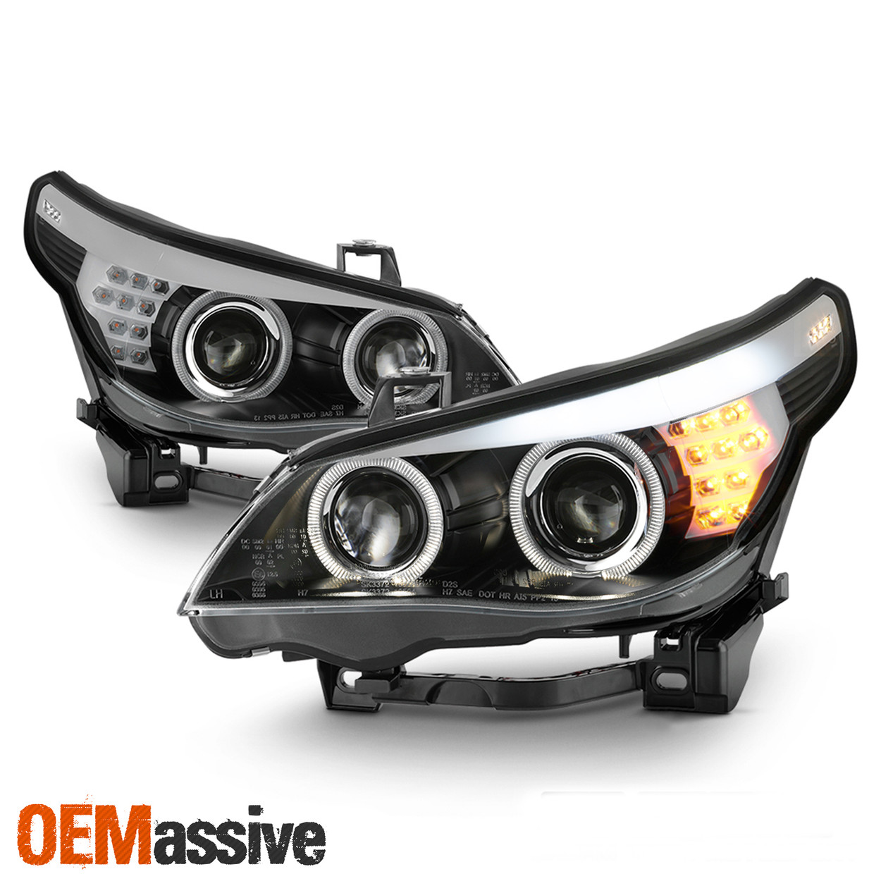 For 2008 2010 Bmw 5 Series E60 W Afs Hid Drl Projector Headlight Led Signal Pair Oemassive
