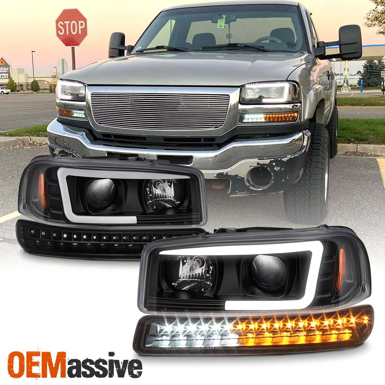 Details about  /Fits 99-06 Sierra Yukon Truck Black Smoked Dual Halo Projector LED Headlights