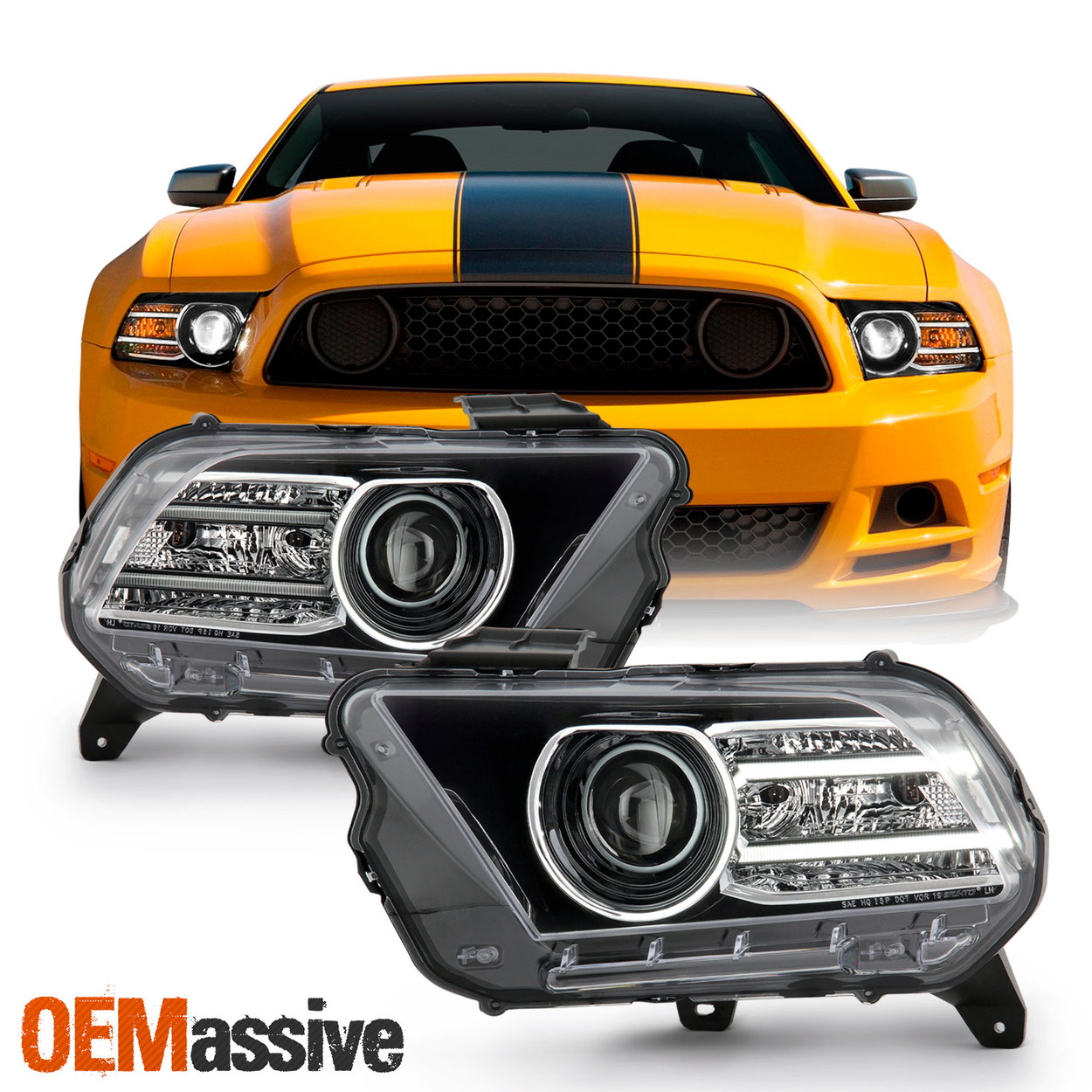 Headlight Assembly for 2010-2014 Ford Mustang Chrome Housing Headlamp Replacement with Amber Reflector Front Driving Light Passenger and Driver Side Chrome