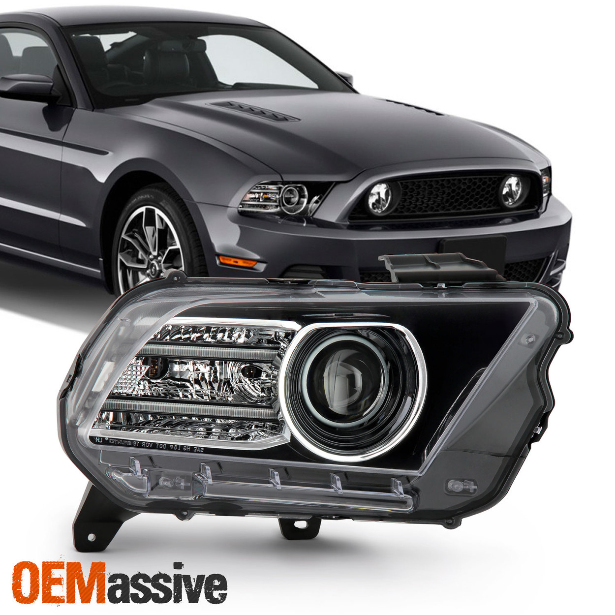 For 13-14 Ford Mustang Fog Lights Assembly Projector Clear Lamp 1Pair Wiring Kit