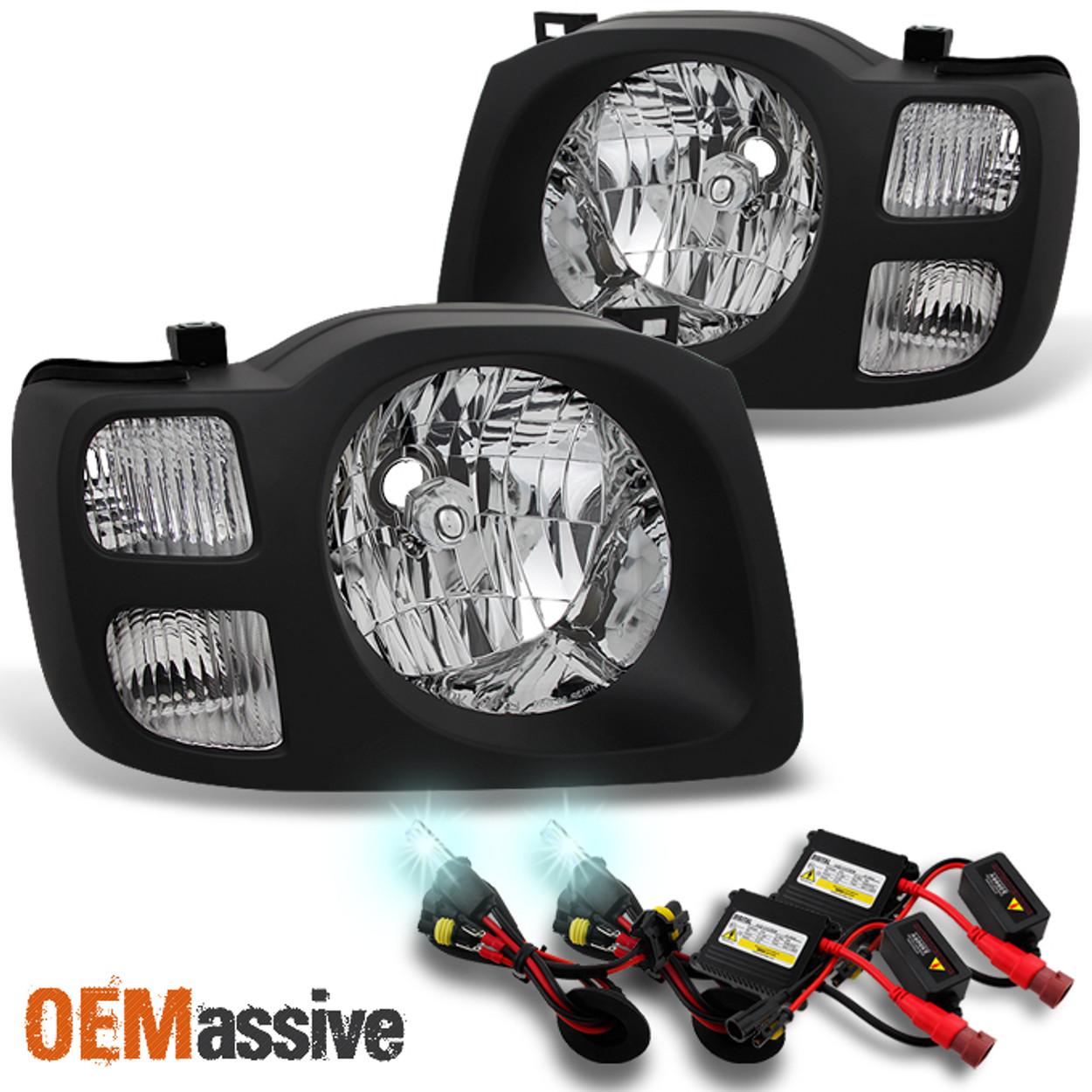 fits 2002 2003 2004 xterra suv black lh rh headlights set 8000k slim hid kit oemassive oemassive
