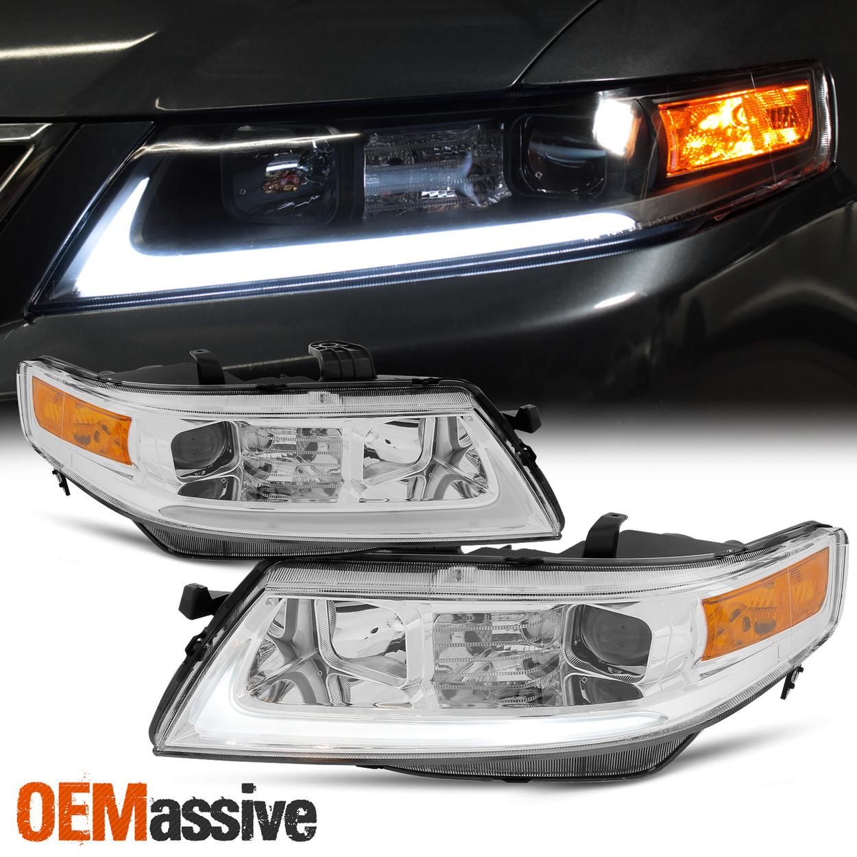 Fits 2004 2005 2006 2007 2008 Acura Tsx Led Bar Projector Headlights Headlamps Oemassive
