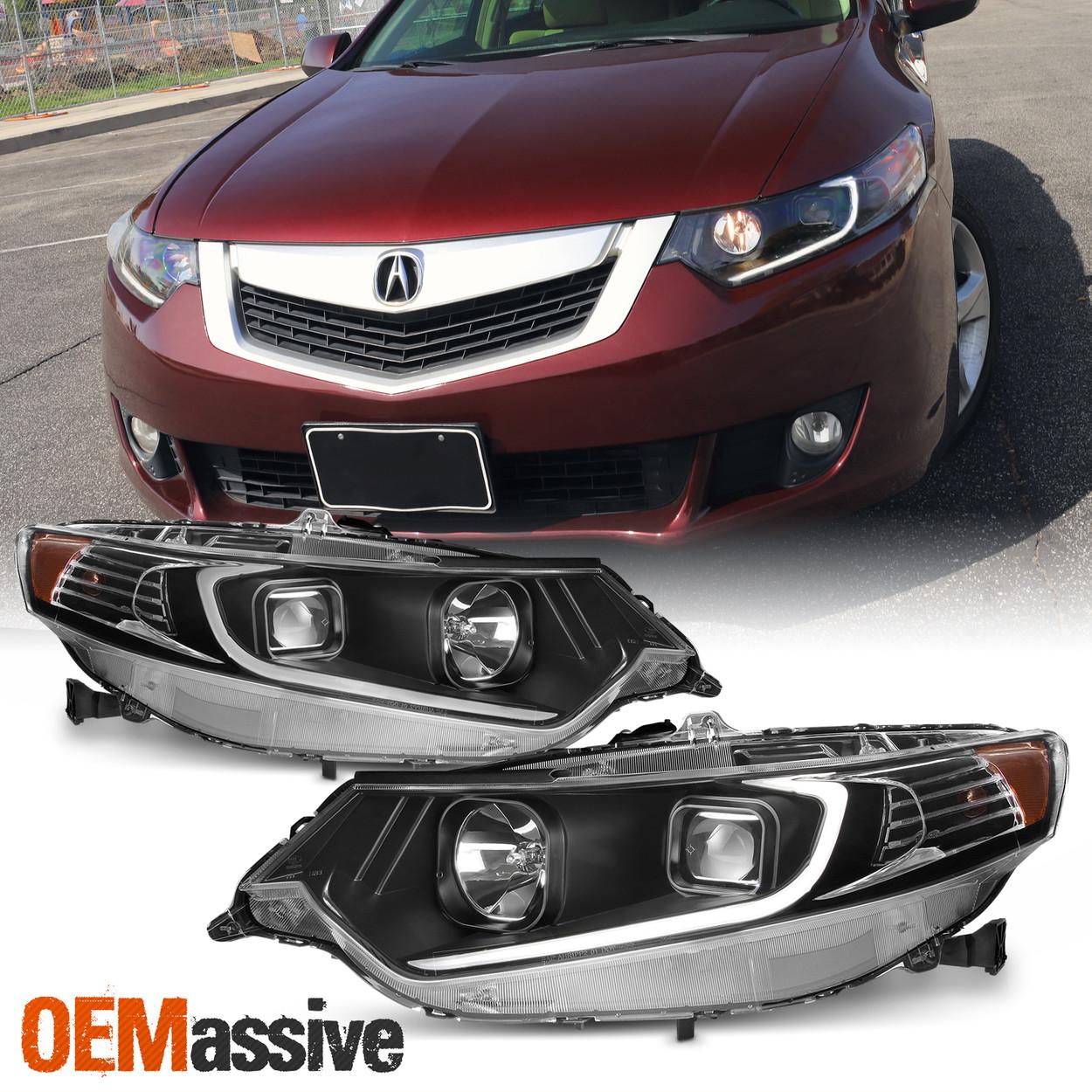 2009 2014 Acura Tsx Led Drl Tube Projector Black Headlights Headlamps Left Right Oemassive