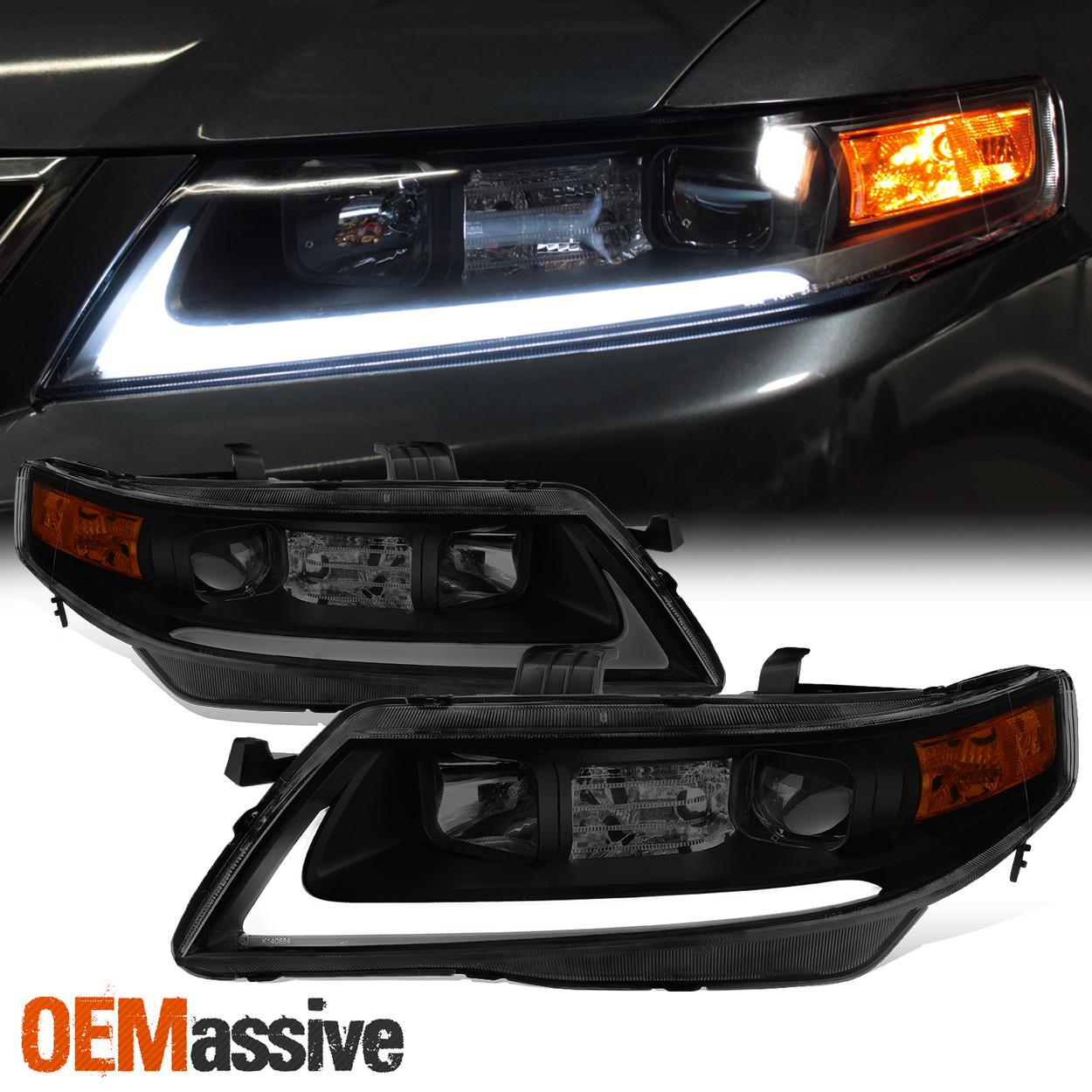 Black Smoke 2004 2005 2006 2007 2008 Acura Tsx Led Bar Projector Headlights Oemassive