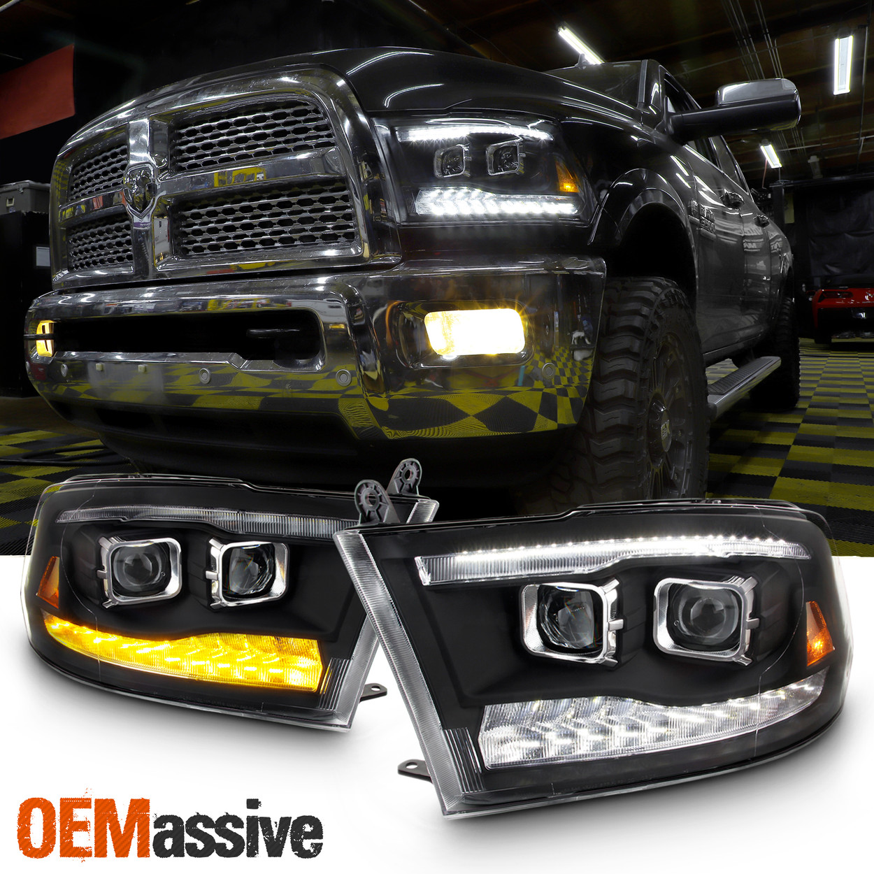 Fit Dodge Ram 09 18 1500 2500 3500 Black Led Drl Dual Projector Headlights Lamps Oemassive
