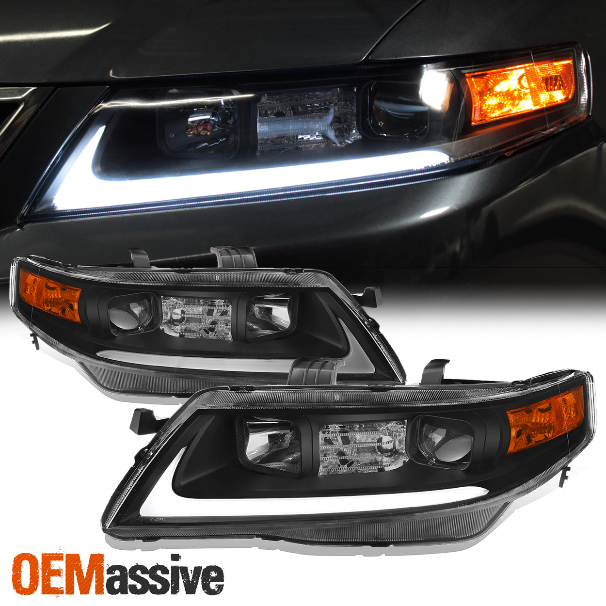Black Fits 2004 2005 2006 2007 2008 Acura Tsx Led Bar Projector Headlights Oemassive