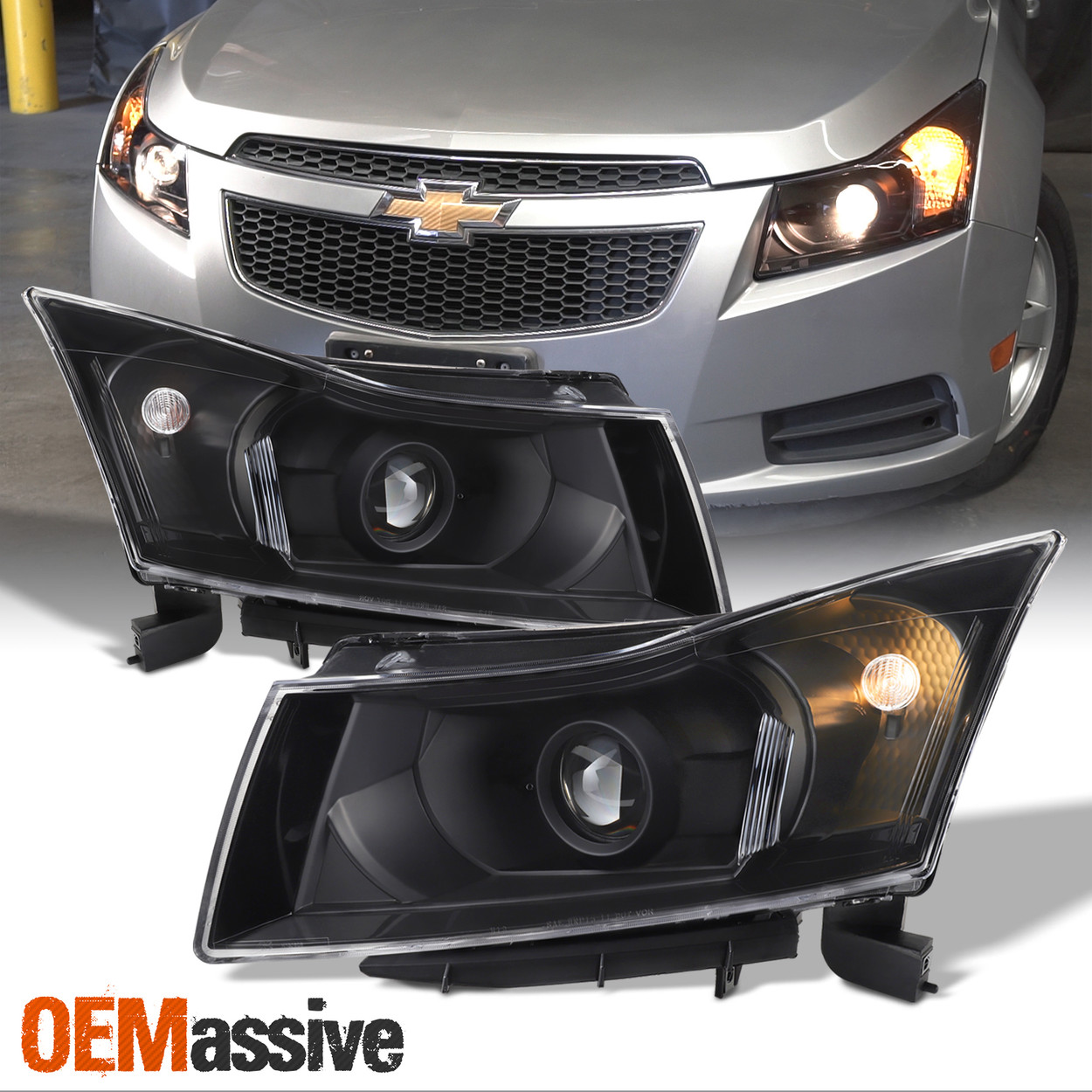 Fit 2011 2012 2013 2014 2015 Chevy Cruze Black Projector Headlights Replacement Oemassive