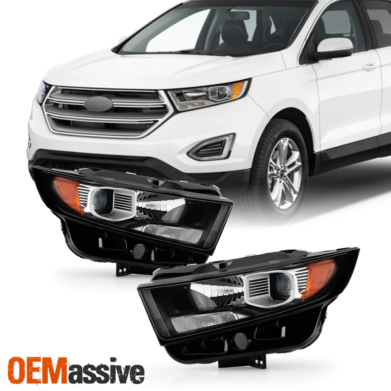 Chrome//Smoke Fits 2015-2018 Ford Edge Crystal Corner Projector Headlight Lamp