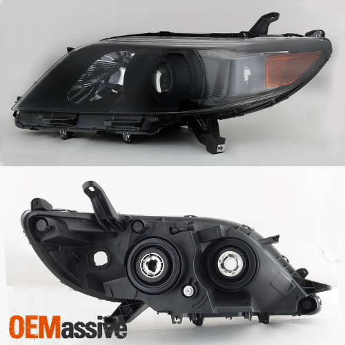 FOR 2011-2017 TOYOTA SIENNA LED TUBE PROJECTOR HEADLIGHTS LAMPS BLACK LH+RH PAIR