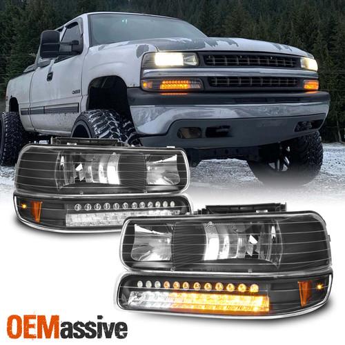 fit 99 02 silverado 00 06 suburban tahoe headlights w bumper signal 8k hid oemassive fit 99 02 silverado 00 06 suburban
