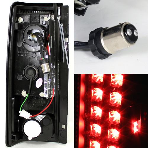 Fits 85-05 Chevy Astro//Safari Van JDM Black LED Tail Brake Lights Set Left+Right