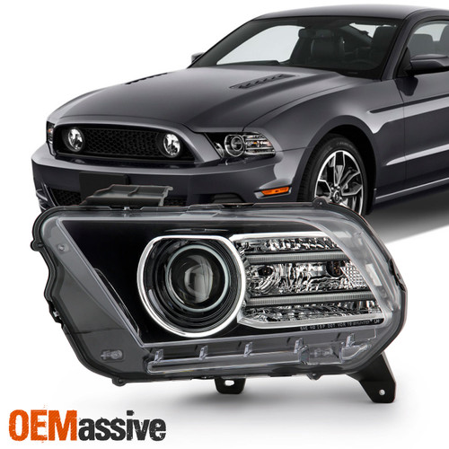 for 13 14 ford mustang hid xenon projector headlight led bar running lamp pair oemassive for 13 14 ford mustang hid xenon