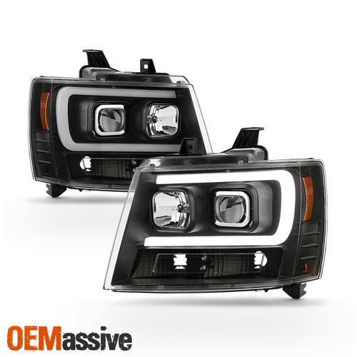 FOR 07-13 CHEVY AVALANCHE SUBURBAN TAHOE HALO LED DRL PROJECTOR HEADLIGHTS BLACK