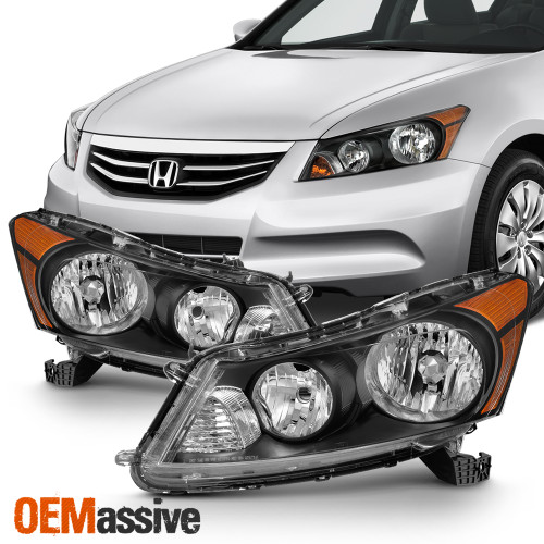 black BRYGHT Headlight Assembly for 2008-2012 Honda Accord 2-Door Coupe Projector Headlamp Replacement with Black Housing Left and Right Side Front Driving Light Pair