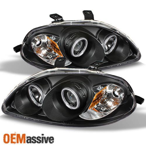 Honda Civic 03.99-02.01/Front Headlights Angel Eyes Black