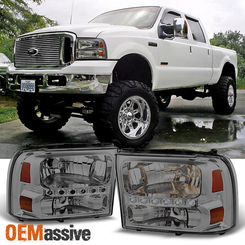 FOR 99-04 FORD F250 F350 SUPER DUTY EXCURSION REPLACEMENT HEADLIGHTS BLACK//SMOKE