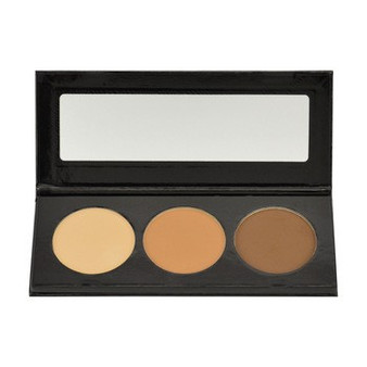 EMPTY COMPACT WITH MIRROR HOLDS 3 DUAL FINISH FOUNDATION PANS