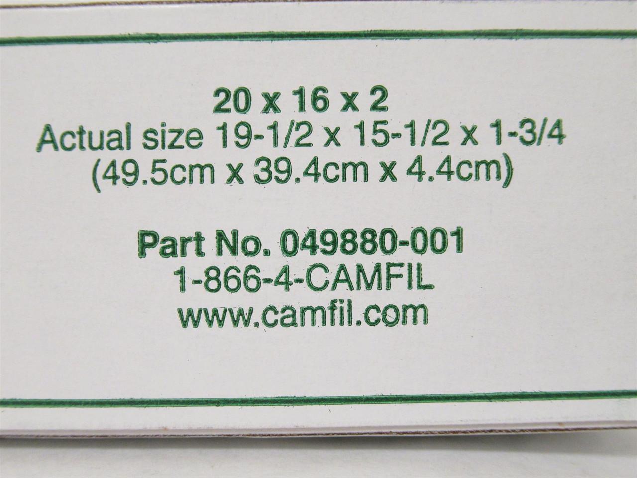 Farr 049880-001, Lot-5 Camfil 30/30 Filter, 20 X 16 X 2