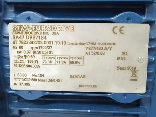 SEW-Eurodrive SA47 DRS71S4, Gear Motor, 0.50HP, 277/480V, 3Ph