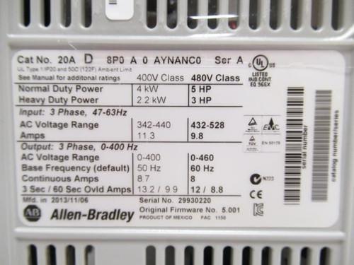 Allen-Bradley 20AD8P0A0AYNANC0, AC Drive, 5Hp, 4kW, 480VAC