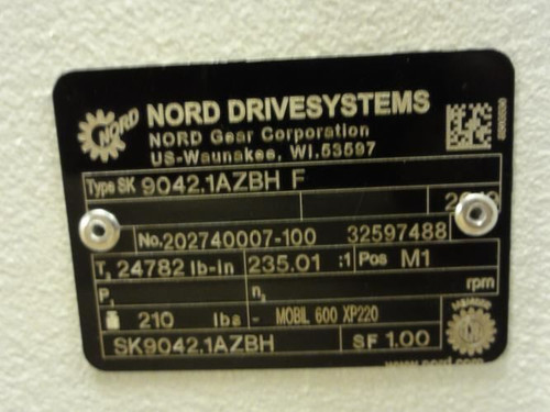 """Nord 9042.1AZBH-F, Gearbox, 235.01:1, 2.365"""" Shaft ID"""