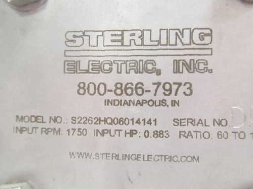 Sterling S2262HQ06014141, Gear Speed Reducer, SS, 60:1 Ratio-a