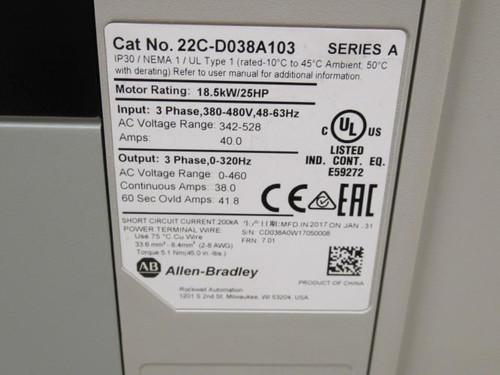 Allen-Bradley 22C-D038A103, AC Drive, 25Hp, 380-480VAC, 40A