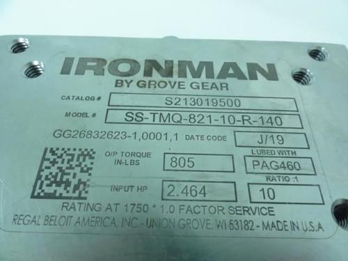 Grove Gear SS-TMQ-821-10-R-140, SS Gearbox, 10:1 Ratio, 2.464HP