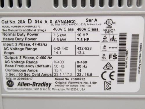 Allen-Bradley 20A-D-014-A-0-AYNANC0, AC Drive, 10Hp, 480VAC, 3Ph