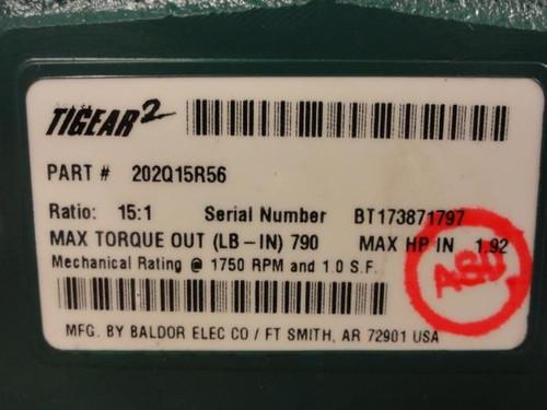 Dodge 202Q15R56, Worm Gear Speed Reducer, 15:1, 1.92HPin