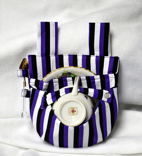 Purple, White and Black Witchy Stripe Teacup Holster